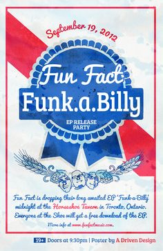 Poster for Fun Fact's EP Release at the legendary Horseshoe Tavern (Inspired by Clint Eastwood and Pabst Blue Ribbon)