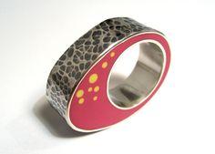 Islay Spalding, Scotland: Pink and Yellow Hammered Biomorph Ring     2009