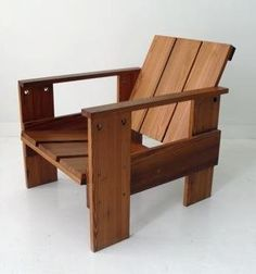 The Crate Chair is based on the designs of Gerrit Rietveld and is available in a range of woods from yellow pine to white oak. The one shown here is made from yellow pine recycled from old floor joists (looks sorta comfortable. Backyard Furniture, Pallet Furniture, Furniture Projects, Furniture Plans, Rustic Furniture, Wood Projects, Furniture Design, Outdoor Furniture, Wood Chair Design