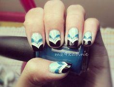 Blue Chevrons by mz9kahne - Nail Art Gallery nailartgallery.nailsmag.com by Nails Magazine www.nailsmag.com #nailart