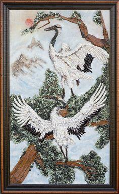 Japanese cranes Mosaic mixed media Original by PebbleShellArt