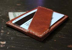 Handmade Men's Slim Minimal Leather Wallet / Handstitched / Made in America / Custom Thread / Groomsman Gifts / Horween Leather by GuardedGoods on Etsy