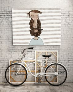 PRINT  BEARD LOVE / Striped: Illustration Print. by ekinakis