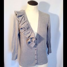 Limited Gray Ruffle Cardigan Super adorable gray cardigan. Excellent condition. The Limited Sweaters Cardigans