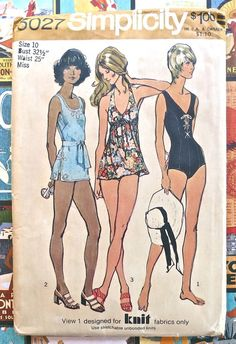 Simplicity 5027  Vintage 1970s Womens Swimsuit by Fragolina, $8.00