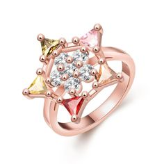 Colorful Star-shaped CZ Diamond Brass Ring Rose Gold Electroplated Summer Style Fine Women Jewelry for Party/Wedding/Banquet/Daily #8