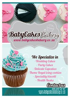 My Business Flyer www.babycakesbakery.co.za Royal Cupcakes, Cupcake Icing, Bakery Cakes, Royal Icing, Party Cakes, Biscotti, Wedding Cakes, Delicate, Cookies