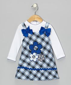 Take a look at this White Tee & Blue Daisy Plaid Dress - Infant, Toddler & Girls by Youngland on #zulily today!