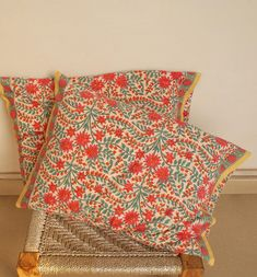 Fabulous Pair Indian Hand block Print Pillow Cases Covers
