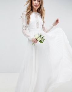 1fe9ee7e9a8 EDITION long sleeve lace bodice maxi wedding dress with pleated skirt