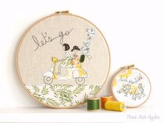 These hoops are darling! Embroidery Hoop Art  'Let's go' Textile by ThreeRedApples on Etsy, £30.00