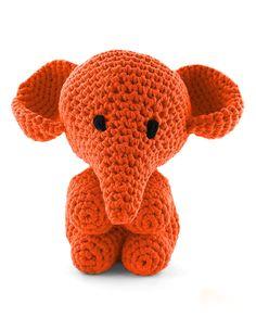 Hoooked Large Elephant Mo orange amigurumi crochet kit & pattern #crochet #gift #cute #animal #craft