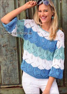 Ажурный пуловер из широких разноцветных полос. Спицы   рукоделие   Постила Summer Knitting, Baby Knitting, Hand Knitted Sweaters, Knitted Hats, Handgestrickte Pullover, Knitting Designs, Pulls, Knitwear, Knitting Patterns