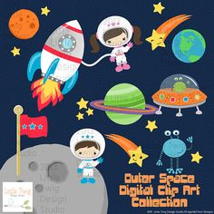 Outer Space Astronauts Kids Children  Digital por Dragonflytwist