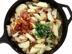 Warm German Potato Salad with Bacon Recipe (with Bacon! Bacon Recipes, Potato Recipes, Pasta Recipes, Yummy Recipes, Crab Pasta Salad, Main Dishes, Side Dishes, German Potatoes, Stuffed Mushrooms