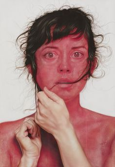 Paintings by Jenny Morgan. This portrait reminds me of the skin discolouration of blushing, perhaps another characteristic of human flaws - we can not disguise emotion or embarrassment. However, is this also a perfection?