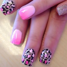 Pink and leopard print nails. I would have all my fingers leopard not mixed with the plain colored nails.