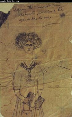 FRIDA in her earliest documented self- portrait, drawn for a schoolmate in 1922