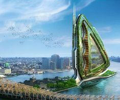 This is the dragonfly metabolic farm for New York City. It is a totally self sufficient idea as an island for NYC. It grows vertically and is big in that way, but the impact that it shows is even bigger. For this to happen would make NYC rely less on agriculture in rural areas and people could have more local entities.