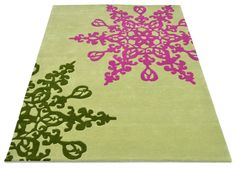 Damask hand tufted wool rug in cerise and olive green with a 12-14mm pile depth. Created using the 'Snowflake' design :)