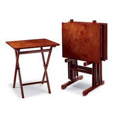 Burlwood Folding Tables, Set of Four