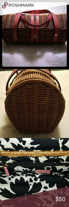 Vintage Kate Spade wicker purse In perfect condition. Pink leather handles, black and white floral interior fabric. One inside zipper pocket kate spade Bags Satchels