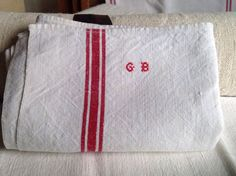 Vintage Tea Towels, Antique French Linen. Monogram GB Dishcloths/ housewarming…