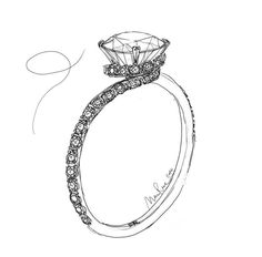 Charles Rose sketch study of a diamond ring featuring a sweeping circular bezel from the shoulders. #CharlesRoseMoment