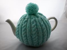 Tea Cosy Mint Green Cable Hand Knitted