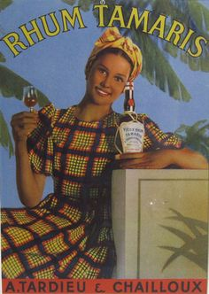 Rhum Tamaris original poster from 1948 France. Caribbean woman holding a bottle and glass of rum with palm trees behind her.