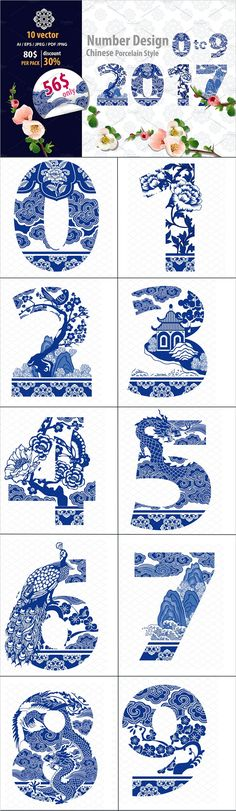 Number 0-9 Design Set in Oriental and Vintage Style Traditional #Porcelain #Chinese Style #graphics #vector download now➩ https://creativemarket.com/ArpornSeemaroj/918708-Number-0-9-Design-in-Chinese-Style?u=Datasata