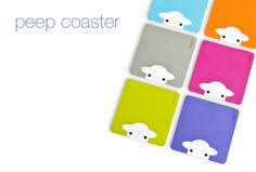 Peep coasters are made from soft silicone pvc and are available in 6 fab colours to co-ordinate with any herdy mug.