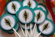 Items similar to 3 Dozen Peacock Cupcake Toppers on Etsy