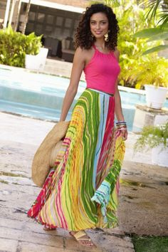 Sao Paulo Skirt I - Colorful Crinkled Chiffon Skirt For Summer, Skirts, Clothing | Soft Surroundings