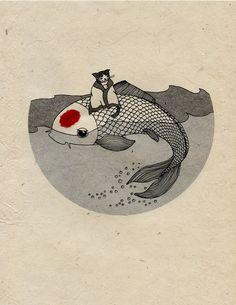 A print for Japan - Koi and Cat.
