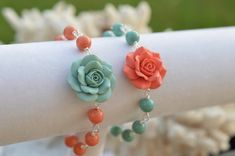 Dusty Mint and Coral Rose Bracelet , Coral and Mint Bridesmaid Bracelet, Mint and Coral bridemaid gift - Dusty Mint and Coral Rose Bracelet , Coral and Mint Bridesmaid Bracelet, Mint and Coral bridemaid g - Bridal Accessories, Bridal Jewelry, Beaded Jewelry, Beaded Bracelets, Aquamarin Ring, Mint Green Bridesmaids, Mint Flowers, Pearl Rose, Diy Bracelets Easy
