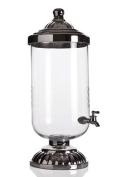 9L Mercury Silver Glass Lid & Base Drink Dispenser Party Decorations Beer Water