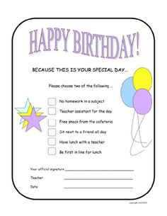 Kids love to choose what they want to do on their birthdays!  Print these out and keep them handy with a birthday calendar nearby. It's your specia...