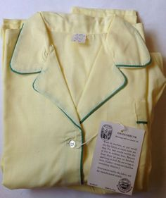 Vintage 70's Women's Springmaid's NEW GIRL Pajamas Sunny Yellow with Green Trim  #Springmaids #PajamaSets