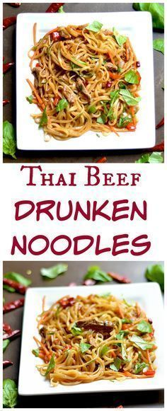 Rice noodles bathed in a yummy sauce with basil, peppers, and thinly sliced beef. Super easy and delicious weeknight meal!! #thaifoodrecipes
