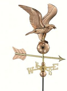 Eagle Polished Copper Garden Weathervane. I know you've seen weather vanes with horses, chickens or buggies, but a majestic eagle? This impressive eagle weather vane will last for years maintenance free