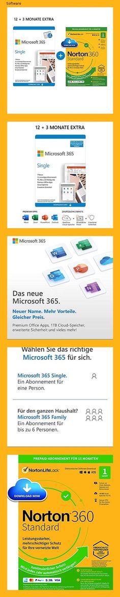 Microsoft 365 Single 12+3 Monate | 1 Nutzer | Mehrere PCs/Macs, Tablets und mobile Geräte | Download Code + NORTON 360 Standard | 1 Gerät | 15 Monate mit Automatischer Verlängerung| Download Code - 1521
