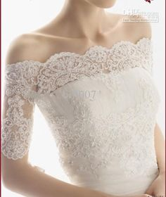 Another lovely lace wedding jacket - Wholesale ivory lace wedding jacket Off shoulder Short Sleeve Tulle and lace Appliqued Bride Bolero Jacket, Free shipping, $43.6-52.99/Piece   DHgate