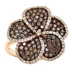 1.60 Tcw Brown Diamond 14K Rose Gold  Pave Flower Engagement Ring by JewelryHub on Opensky