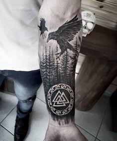 Viking Tattoo Sleeve, Viking Tattoo Symbol, Wolf Tattoo Sleeve, Tattoo Sleeve Designs, Tattoo Designs Men, Sleeve Tattoos, Simbolos Tattoo, Rune Tattoo, Norse Tattoo