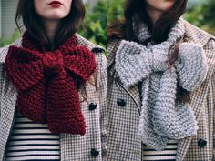 Knitted Chunky Bow Scarf
