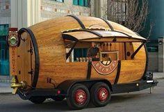Barrel trailer food truck.