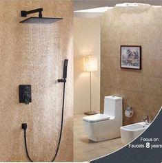 Antique Black Bronze Brass Concealed Installation Rainfall Bathroom Shower Set TS0658C