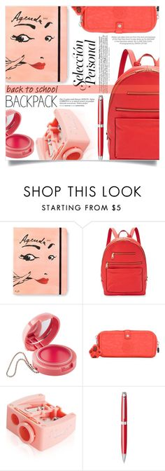"""In my backpack"" by aislinnhamilton1993 ❤ liked on Polyvore featuring Kate Spade, FOSSIL, Kipling, Kershaw, Benefit, Caran D'Ache, backpack, Reds and inmybackpack"