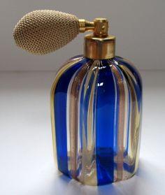 Italian Murano glass perfume atomizer with label